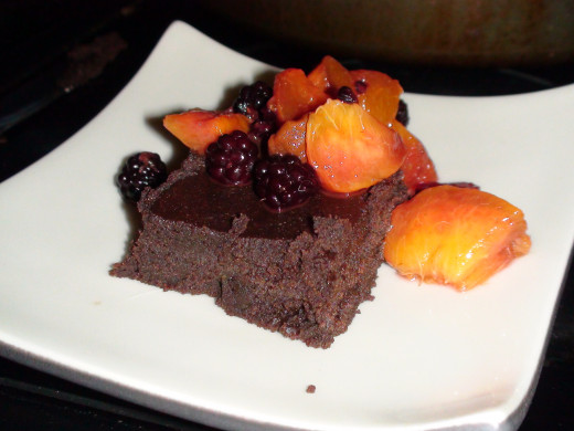 Chocolate Avocado Brownies topped with blackberries and peaches. Delicious!