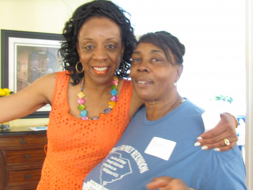 My sister Doris poses with our cousin Bette, who also helped put this event together.