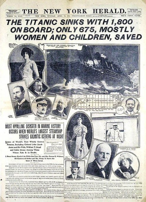 A contemporary New York Herald front page report of the titanic tragedy