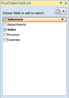 PivotTable Field showing the drop down box used for sorting and filtering in a pivot table in Excel 2007 and Excel 2010.