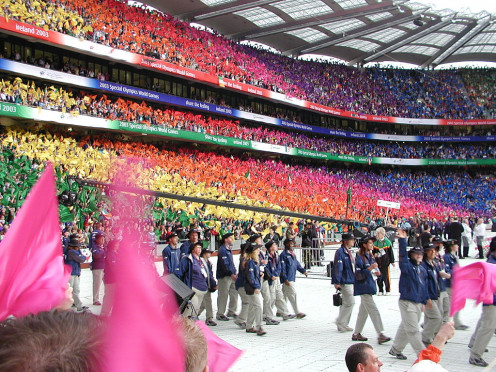 The USA enters the Special Olympics World Games Opening Ceremony in 2007 in Dublin, Ireland.