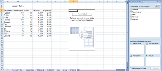 Building a pivot table using the Field list in Excel 2007 or Excel 2010.