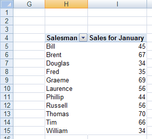 A completed pivot table created in Excel 2007 or Excel 2010.