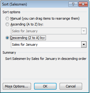 Showing more sorting options available in a pivot table in Excel 2007 or Excel 2010.
