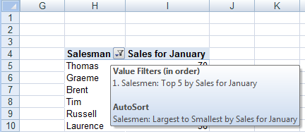 Tool tip showing the filtering and sorting applied to column H in our pivot table in Excel 2007 or Excel 2010