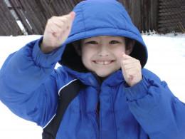 Matty posing on a snowy day