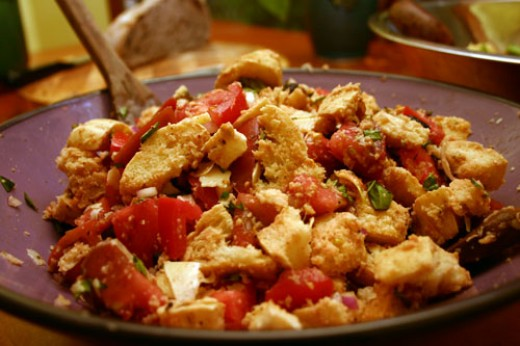 panzanella bread salad with tomato and basil