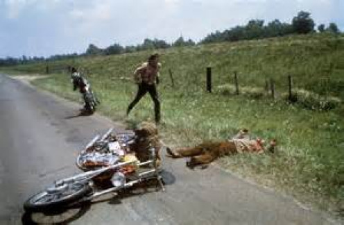 "Famous scene at the end of ""Easy Rider"""