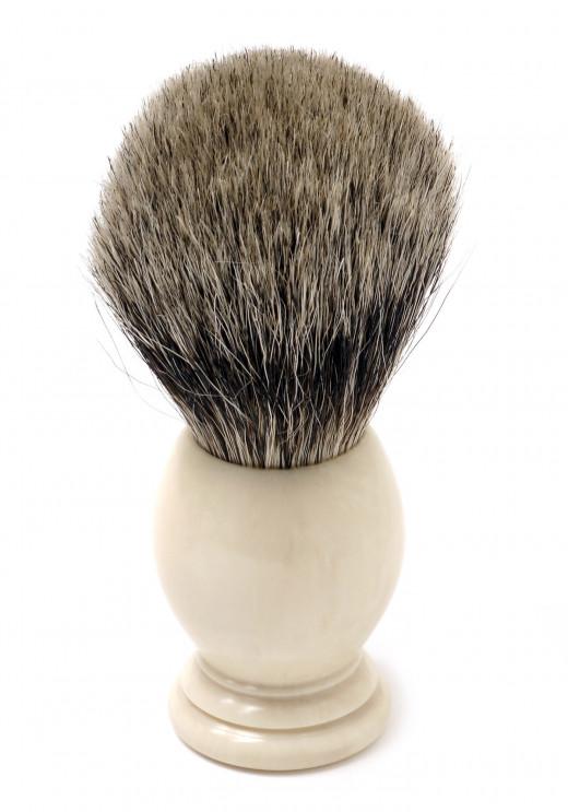 A badger hair shaving brush.