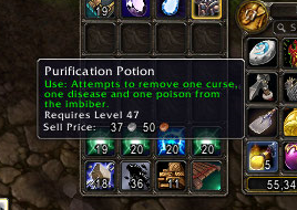 The Purification Potion will remove other debuffs as well so make sure you don't use it while you have other debuffs on you! Dispel the debuffs with your Pit Lord's Fel Breath first.