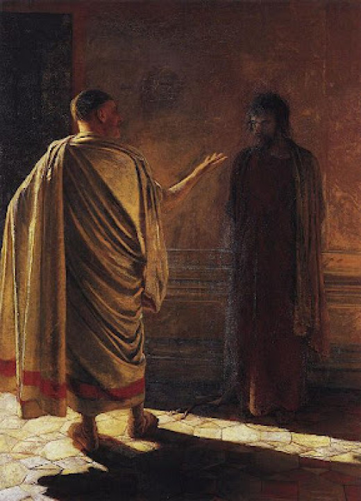 Pontius Pilate interrogating Jesus of Nazareth (peace be on him)