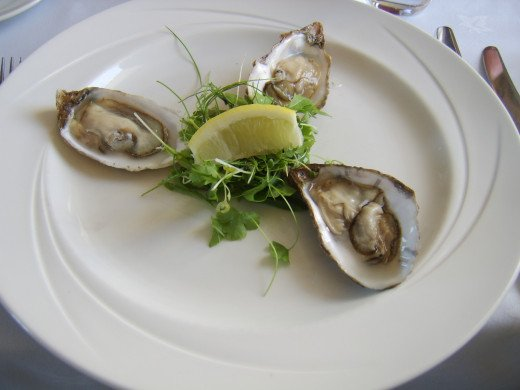 Loch Gruinart oysters with salad and lemon
