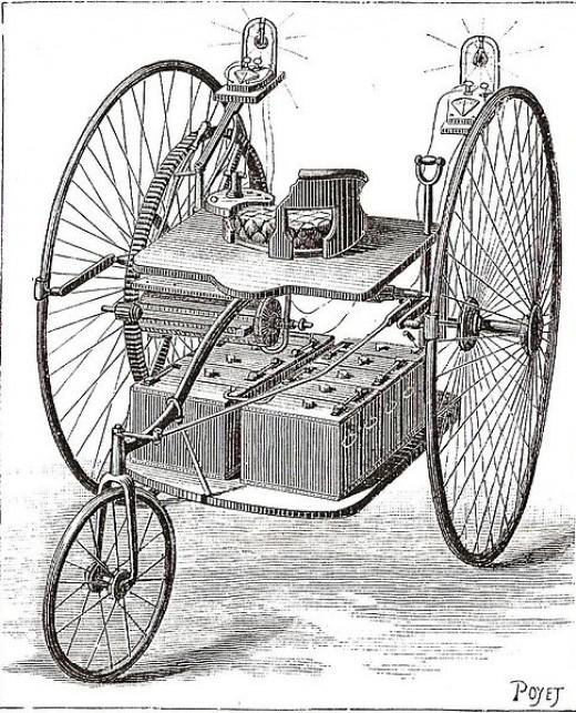Triciclo elétrico (cerca de 1884)