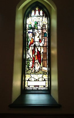 """A stained glass window (""""Christ at the Door"""") in Christ Church Cathedral, Vancouver"""