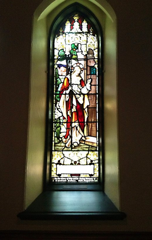 "A stained glass window (""Christ at the Door"") in Christ Church Cathedral, Vancouver"