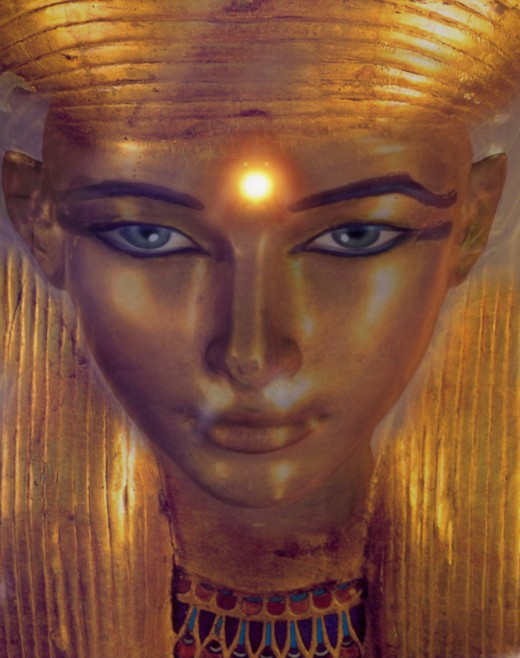 Ancient Egyptian goddess Hathor is commonly depicted as a cow goddess with horns in which a sun disk is set. She wears a heavy semi-circular menat necklace and a crown.