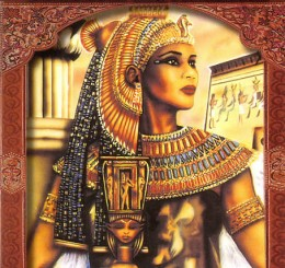 Egyptian goddess Isis holding a sistrum