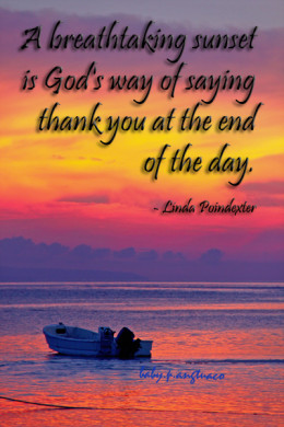 a photoquote about a sunset as God's thank you