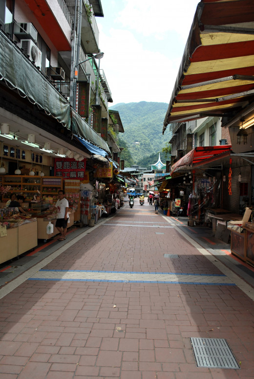 The main street of the village in a weekday, so it is empty. The main street is very crowded in the weekend.