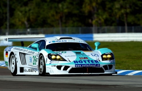 The Saleen S7, Saleen's flagship supercar, competing on the track in S7R racing trim