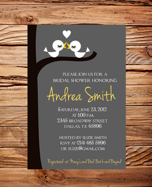 Invitation for a love bird shower.
