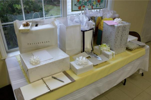 Placement of gifts for the Bride and Groom.