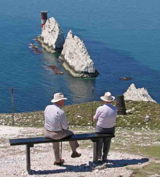Looking down at the Needles isle of wight.
