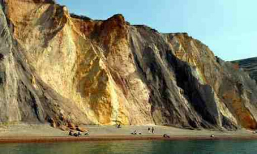 Multi colored sand cliffs.