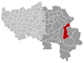 Map location of the Belgian municipality of Waimes, Liège province