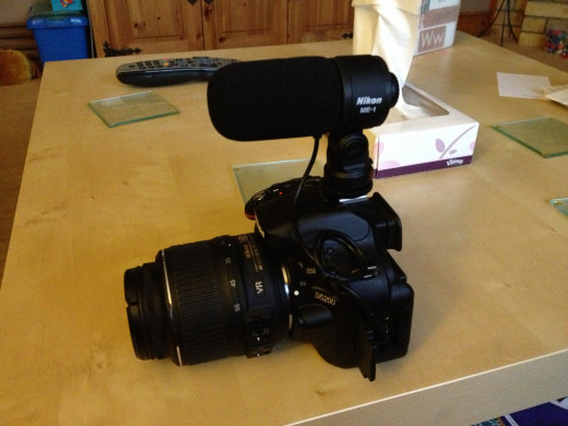 A Nikon D5200 with ME-1 Stereo Microphone attached.