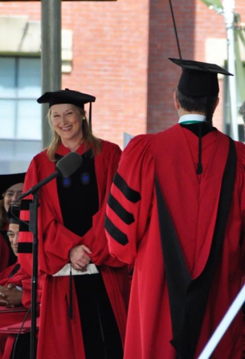 Meryl Streep receiving honorary degree from Harvard University. Harvard Commencement 2010