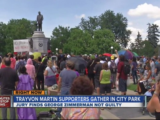 A peaceful gathering of Trayvon's  supporters.