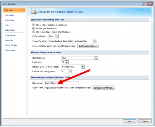 How to change your Excel user name in Excel 2007.