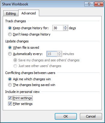Tracking and conflict resolution options available when sharing a document in Excel 2007 and Excel 2010.