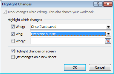 Configuring how Excel treats Highlighting Tracked Changes in an Excel 2007 or Excel 2010 workbook.