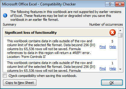 Example of issues discovered by Compatibility Checker in Excel 2007 and Excel 2010.