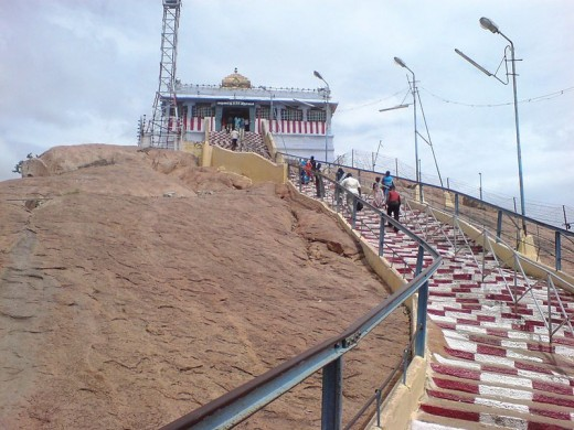 You need to climb the steep steps to reach the temple.   It offers a panoramic view of the Trichy City.