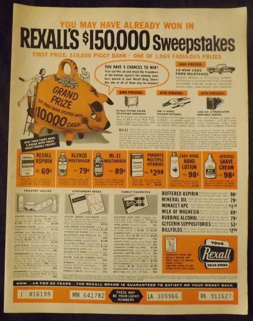 1965 Rexall Drugstore Ad
