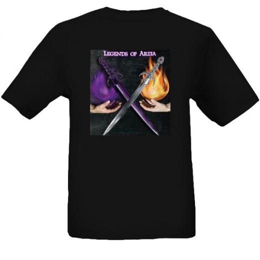 A black shirt design for Legends of Areia.