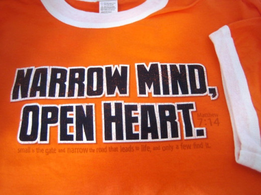 Narrow Mind, Open Heart t-shirt