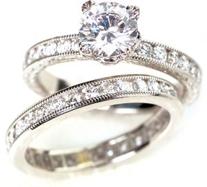 950 Palladium & Diamond Wedding Ring Set