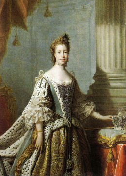 Queen Charlotte in state robes - this painting by Allan Ramsay is one of the best known.