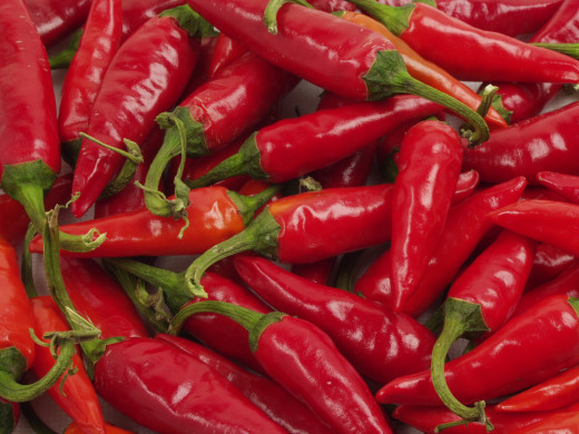 Hot peppers, the main ingredient for savory pepper sauce.