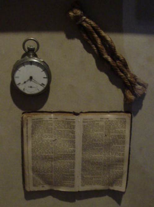 An inmate's Bible and piece of hangman's rope