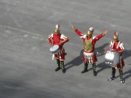 Ancient Roman Soldiers greeting cruise ships arriving at port of La Goulette outside of Tunis, Tunisia.