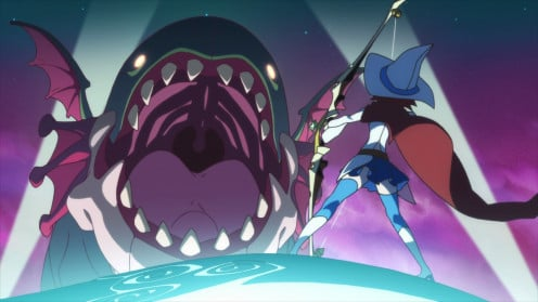 Shiny Chariot combats a monster in the film's opening segment.
