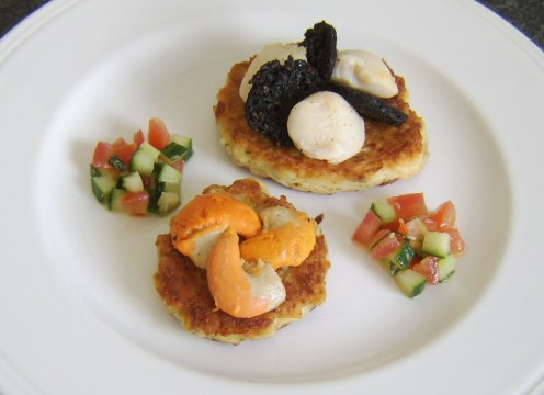 King scallops and black pudding, served on potato cakes with salsa