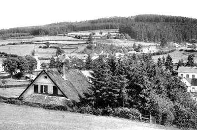 Schonberg, Belgium in a prewar photo. Bridge and Church are behind the house in foreground, just to the left.