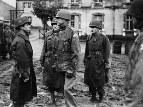 Gen. Patch visiting the troops in France, fall 1944.