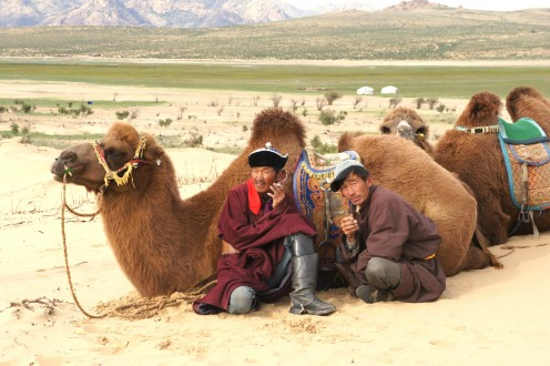 Camel men having a smoke break in the Little Gobi.